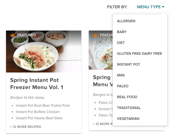 Select your menu - including Paleo, instant Pot and Toddler