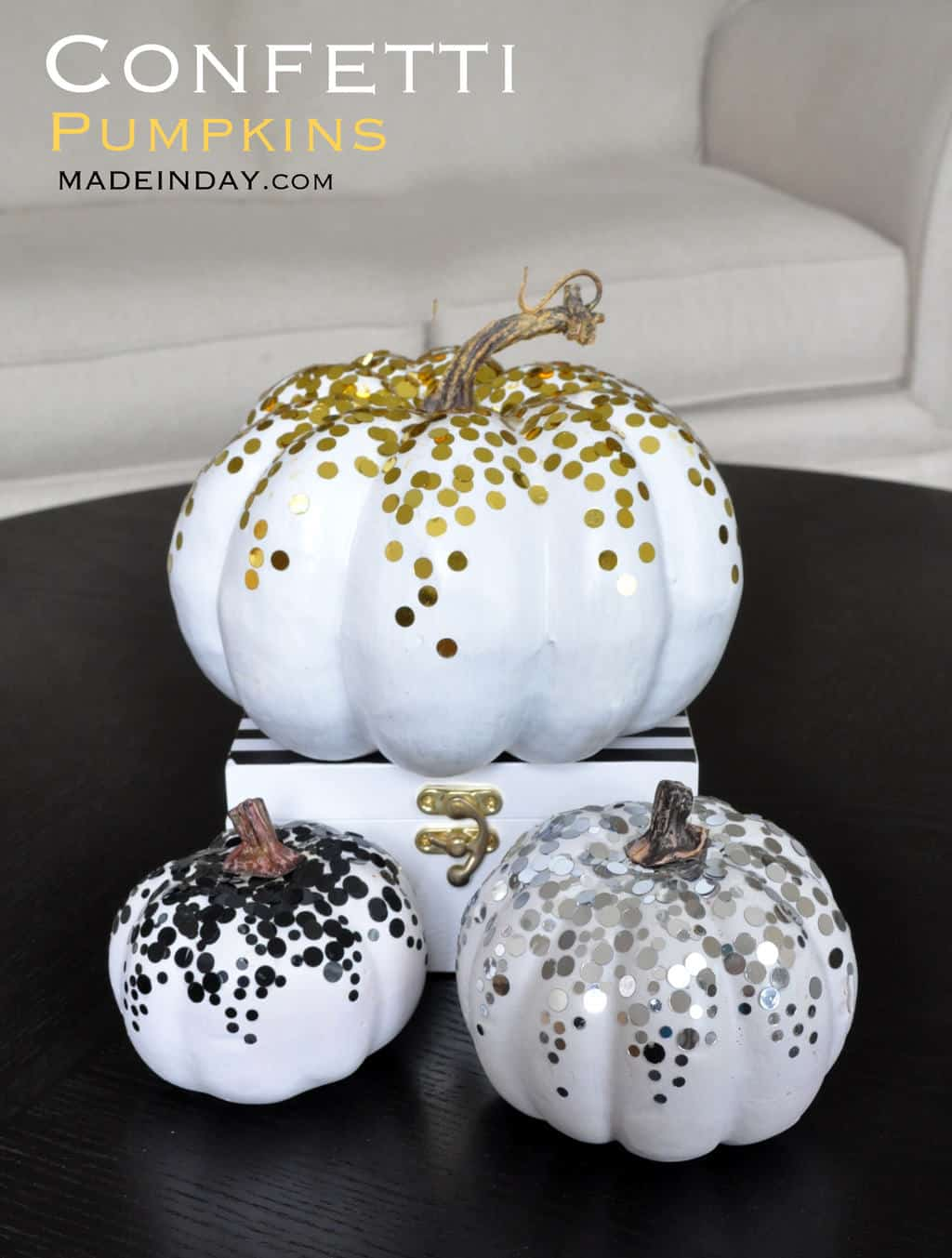 Metallic Confetti Pumpkin DIY