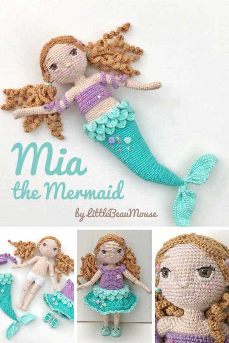 Mia the Mermaid Crochet Amigurumi Doll Pattern