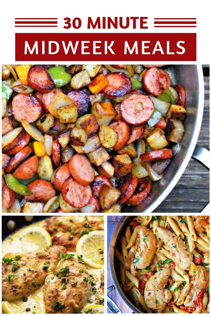 In a hurry and can't think what on earth to make for dinner? These midweek meals are easy to make and you'll have dinner on the table in less than 30 minutes!