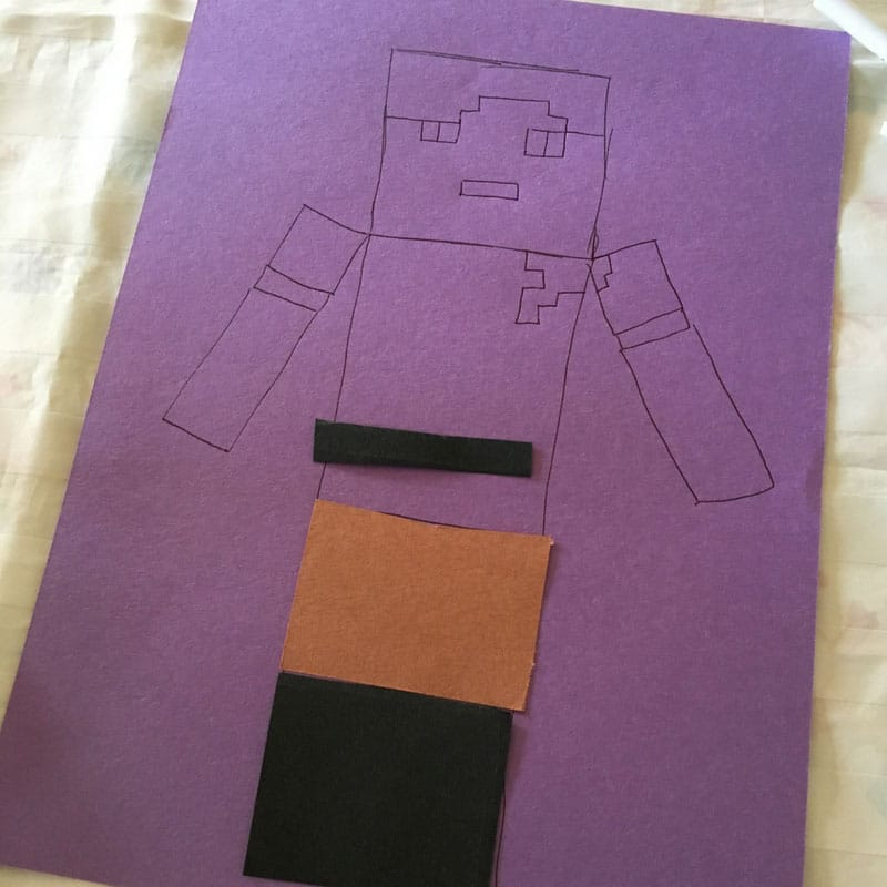 Minecraft Alex Pixel Picture - Draw the outline