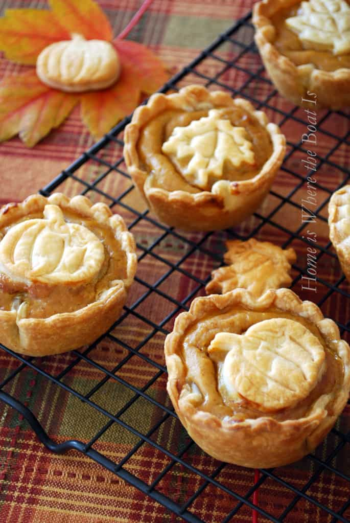 If pumpkins are more your thing at Thanksgiving how about some mini pumpkin pies? And these are great if you're in a hurry because all of the ingredients come out of a can.