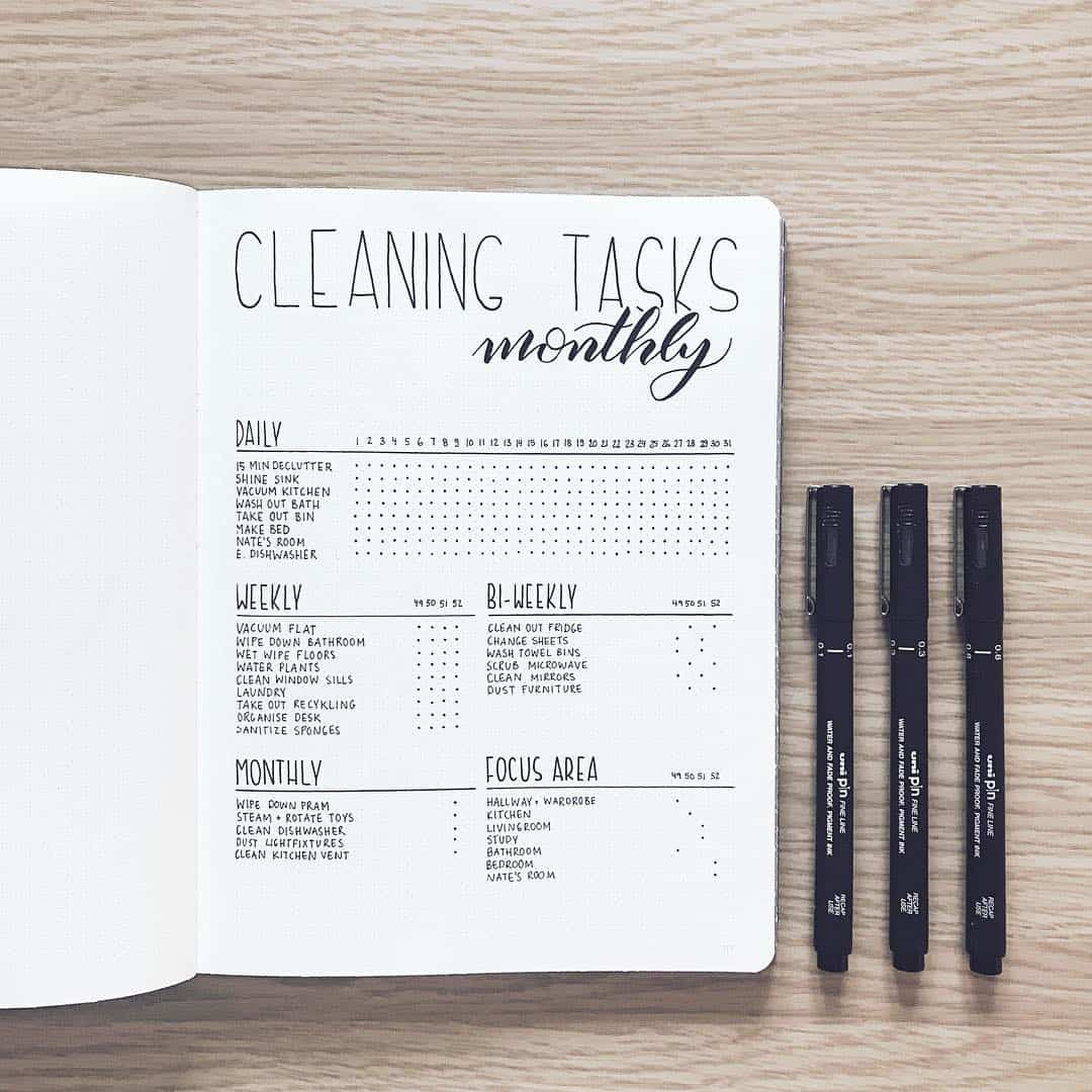 Minimalist Cleaning Tasks Spread