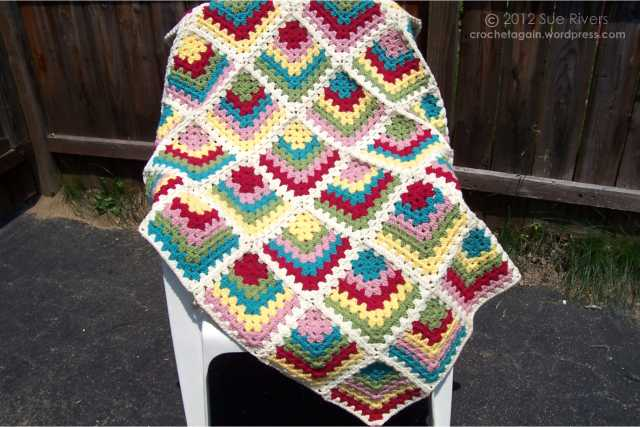 Mitered Granny Square Crochet Blanket