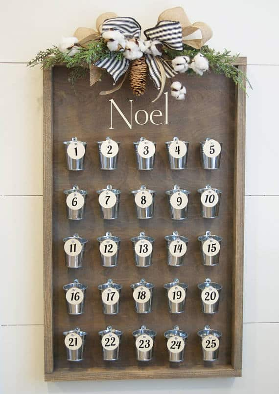 Modern Farmhouse Advent Calendar Buckets