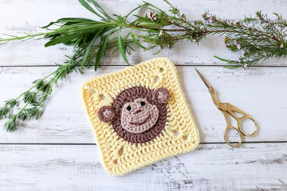 Monkey Granny Square Crochet pattern