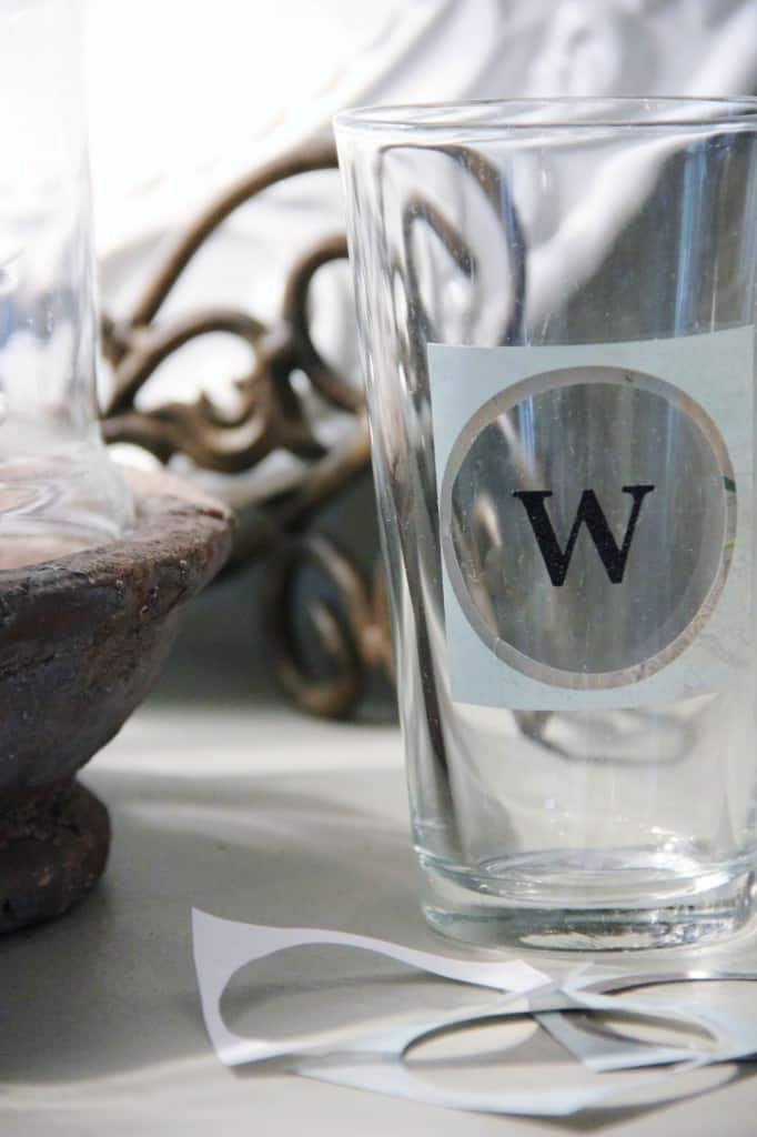 Here's another idea for a monogrammed hostess gift, made with etched glass. Take a look because it's not as difficult as you might think and looks beautiful.
