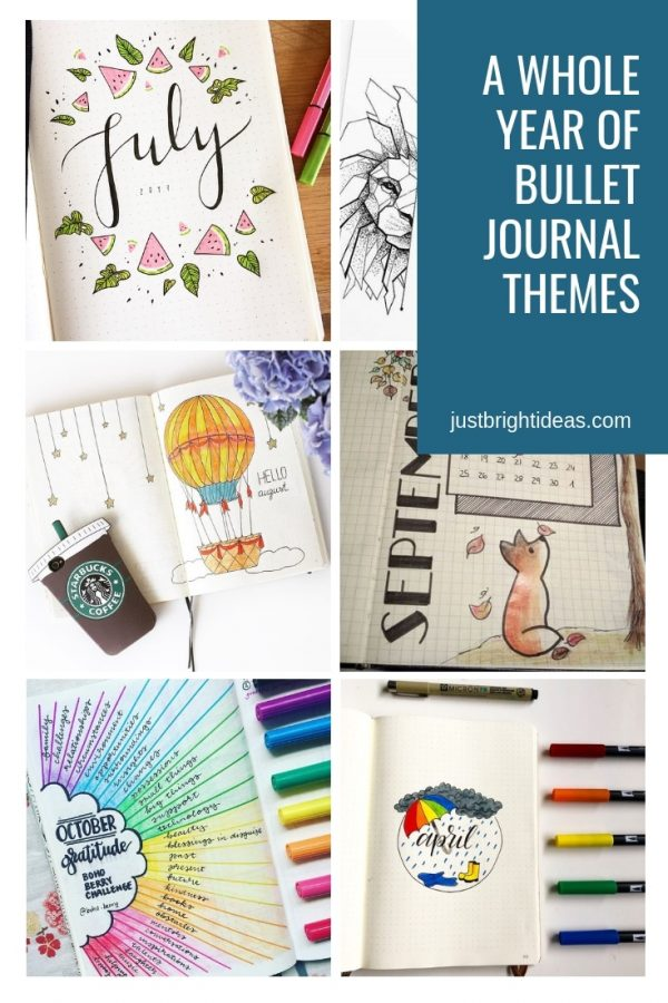 Monthly Bullet Journal Themes for the Year Ideas