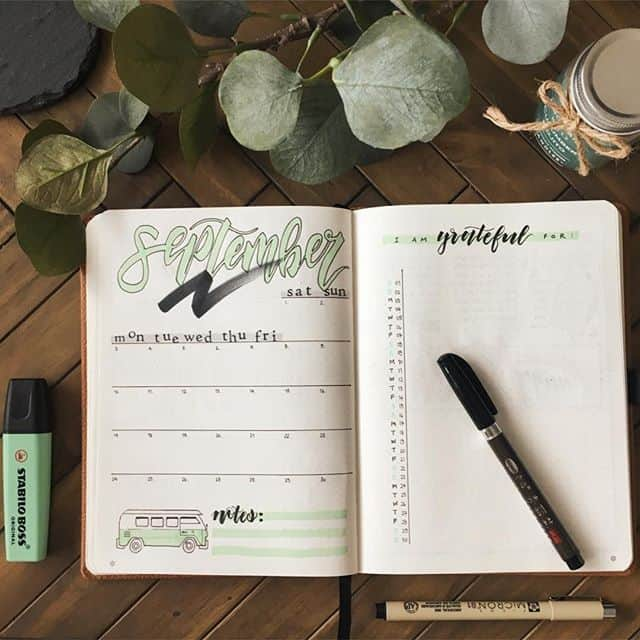 Monthly log with gratitude list