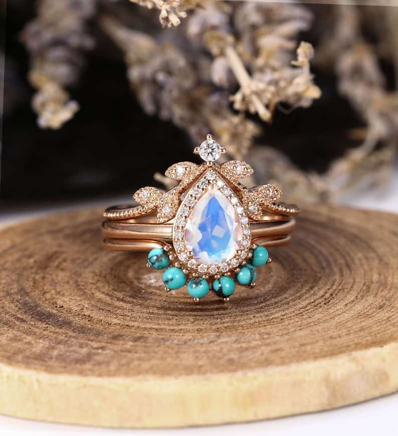 Handcrafted Pear Cut Vintage Turquoise Wedding Jewellery