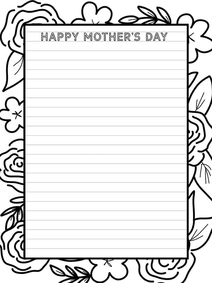 Tell mom how much she means to you with this fabulous Mother's Day stationery you can color in