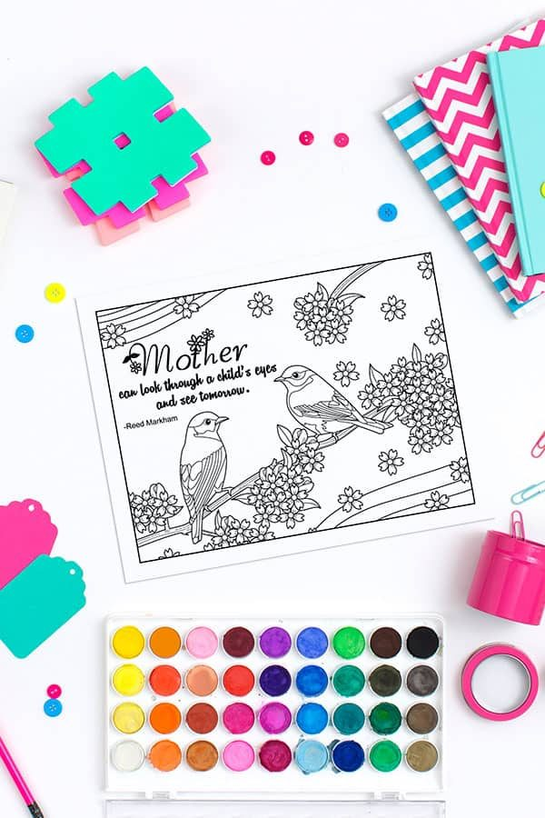 Download your free Mother's Day printable coloring sheet with a beautiful quote to show mom that you love her