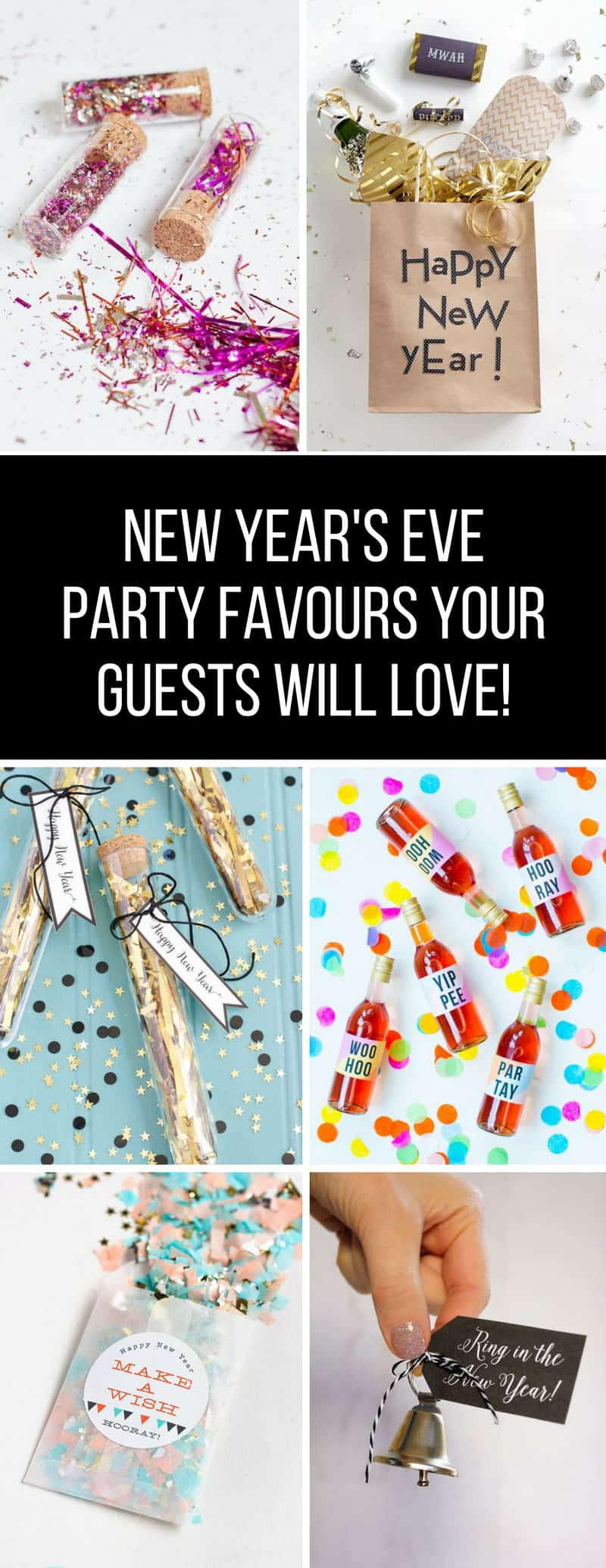 New Years Eve Party Favors - Loving these DIY party favors and your guests will too! Everything from confetti canons to Kiss Me kits for when the clock strikes 12! #NewYearsEve #NewYearsEve2018 #Party