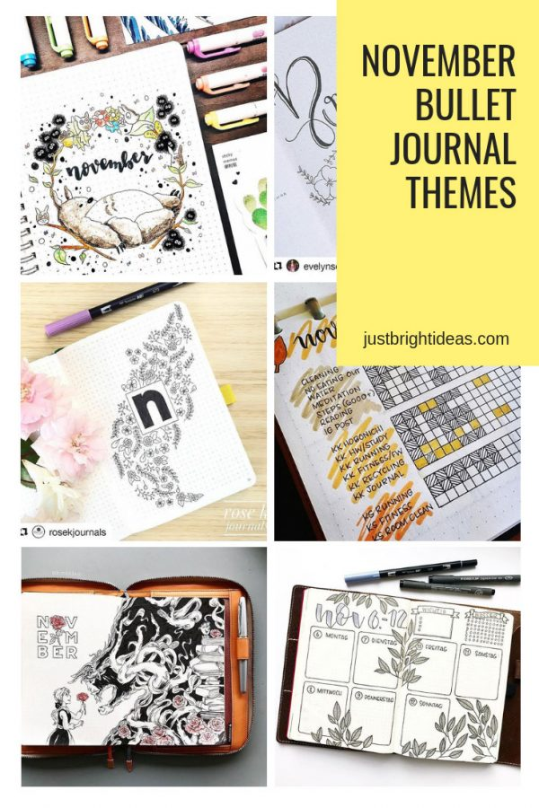 November Bullet Journal Themes and Cover Page Ideas