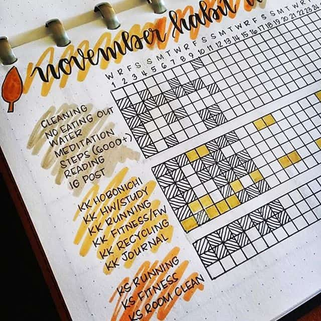 November tracker Bullet Journal