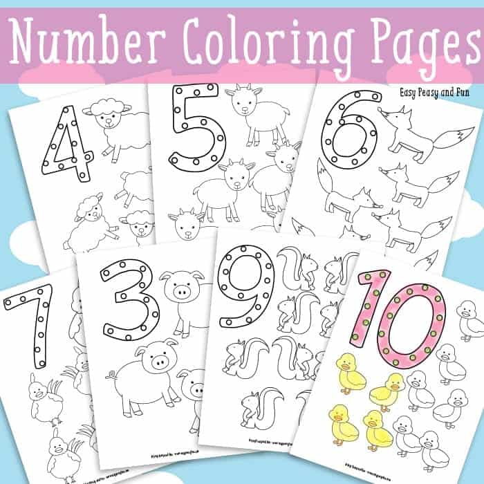 Animals Number Coloring Pages