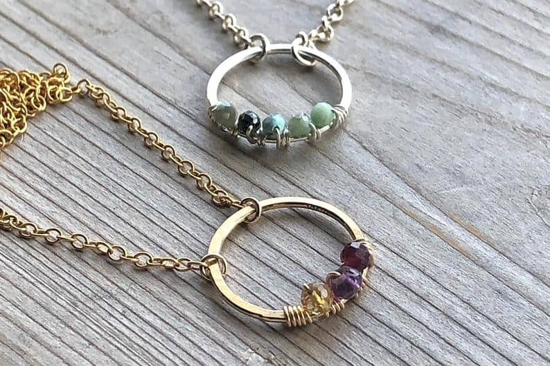 Open Circle Birthstone Necklace