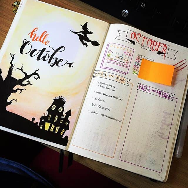 October Bullet Journal Cover Page Haunted House