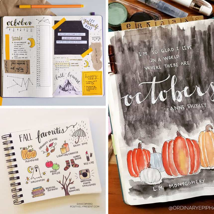 October Bullet Journal Cover Pages and Ideas