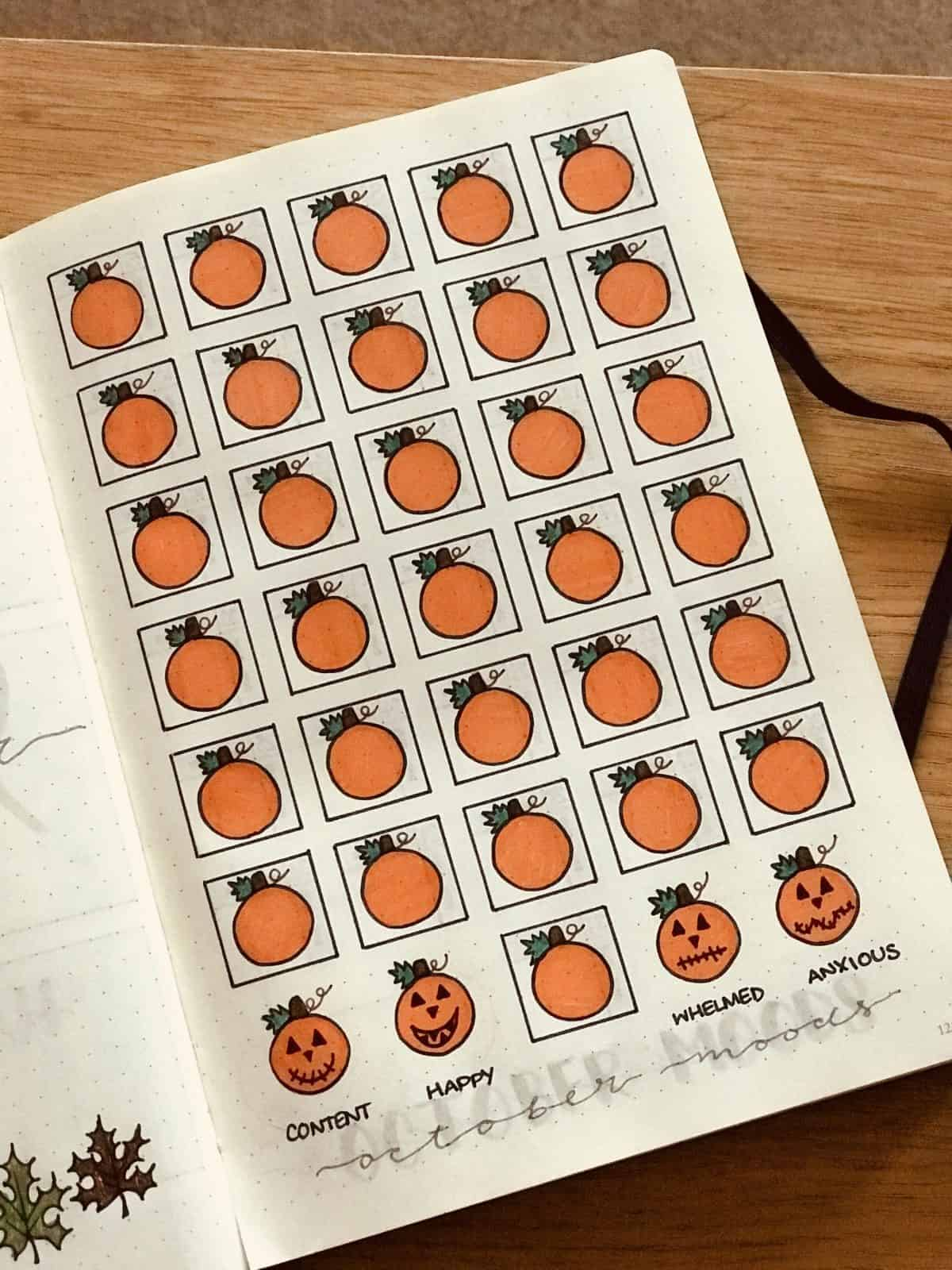 October Bullet Journal Mood Tracker Halloween