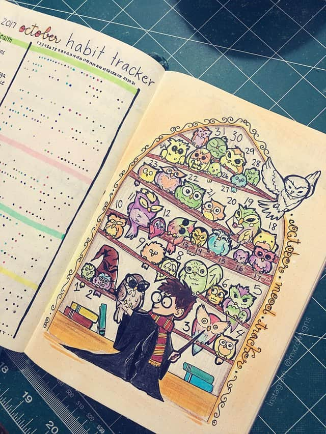 October Bullet Journal Mood Tracker Harry Potter