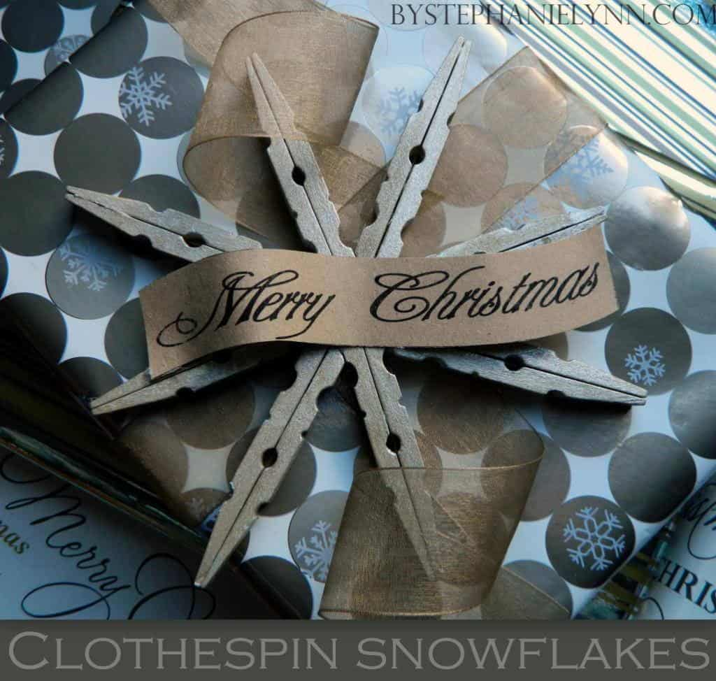 LOVE these snowflake ornaments - what a great idea to make them using clothespins!