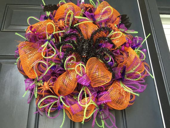 Orange Purple and Lime Deco Mesh Halloween Wreath
