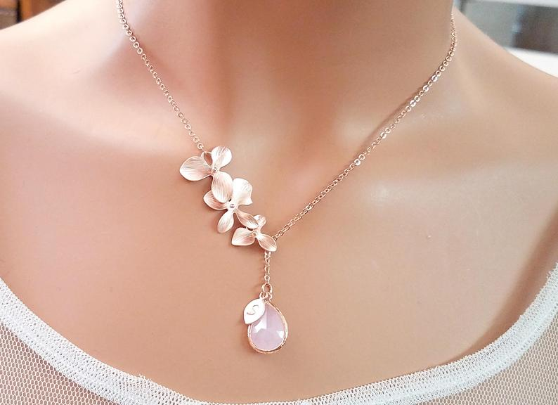 Handmade Orchid Flower Birthstone Necklace