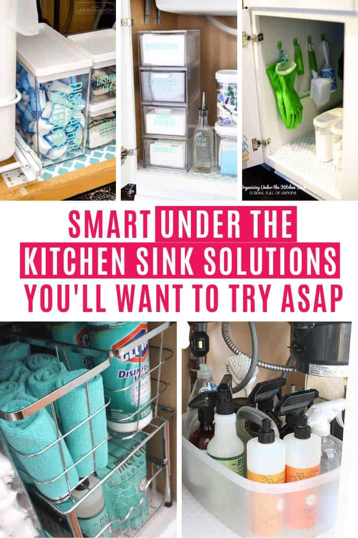Do you hate opening the door to your under sink cabinet because inside is just a mass of chaos? I swear I have so many boxes of dishwasher tablets because I keep losing them to the depths of the cabinet! These organzing under the kitchen sink hacks are just what you need!
