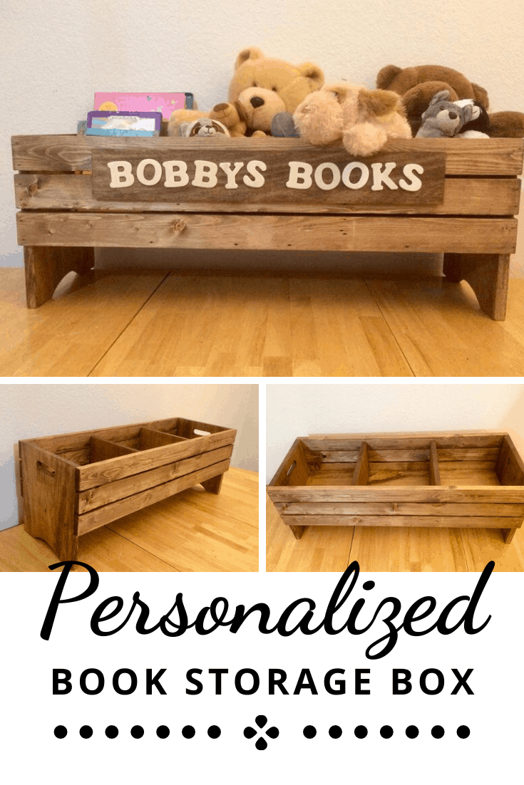Personalized Wooden Book Storage Crate