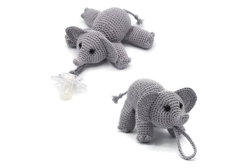 Crochet Elephant Pacifier Buddy