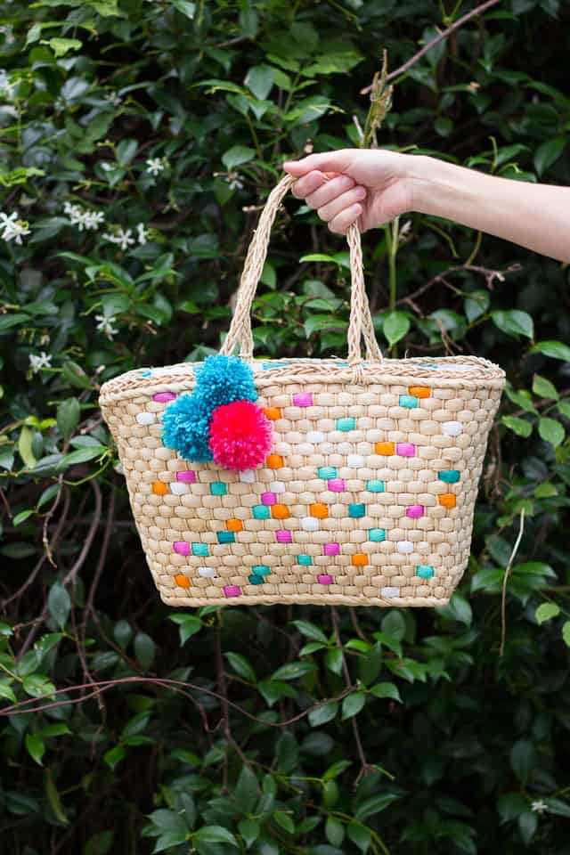 Painted Straw Tote Bag