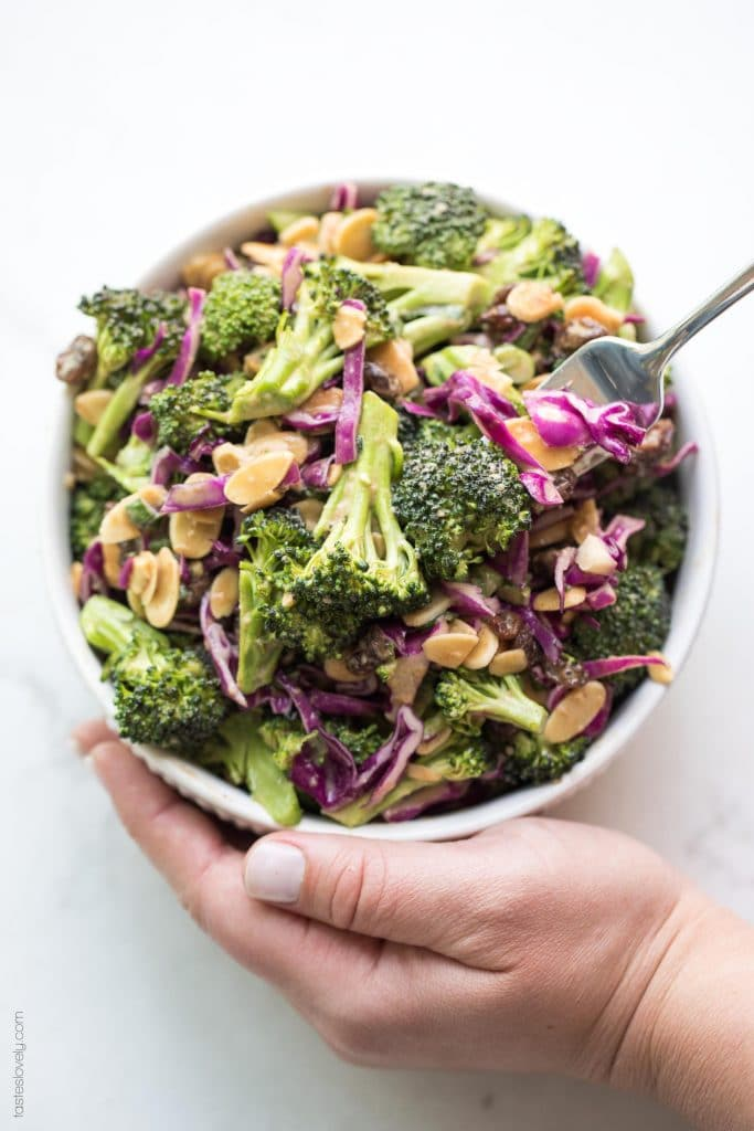 Broccoli Salad with Orange Almond Dressing