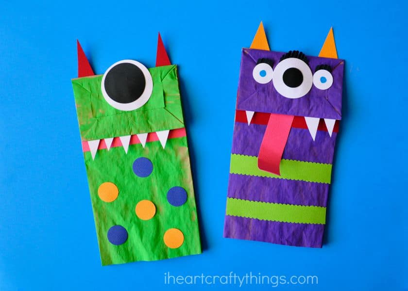 Paper Bag Monster - Halloween Craft for Kids - I don't think I've ever seen a pair of cuter looking monsters. This craft is perfect for little ones because it's easy to do with a little help from you and it's not too scary.