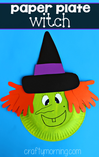 Paper Plate Halloween Craft for Kids Witch - Here's another Halloween craft that turns a boring old paper plate into something fabulous. This time its a spooky witch!