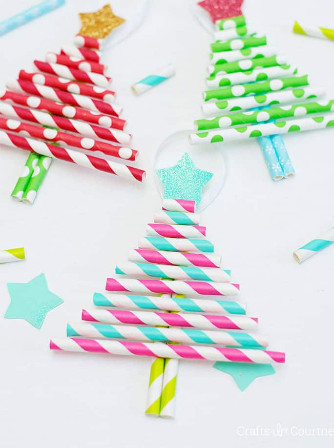 Paper Straw Christmas Ornaments