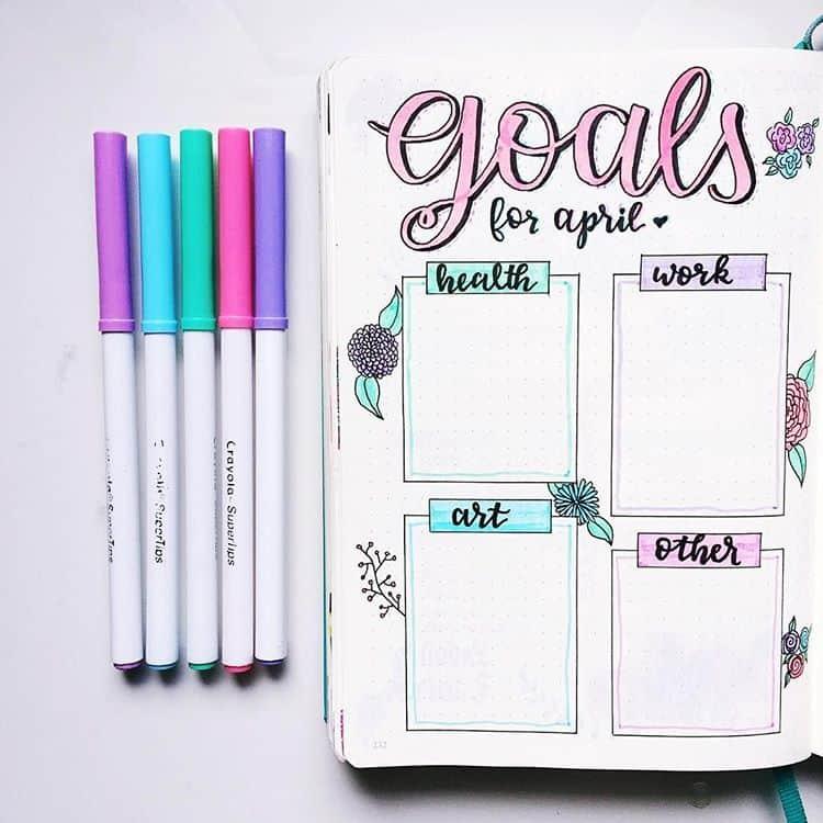Pastel goals page bullet journal