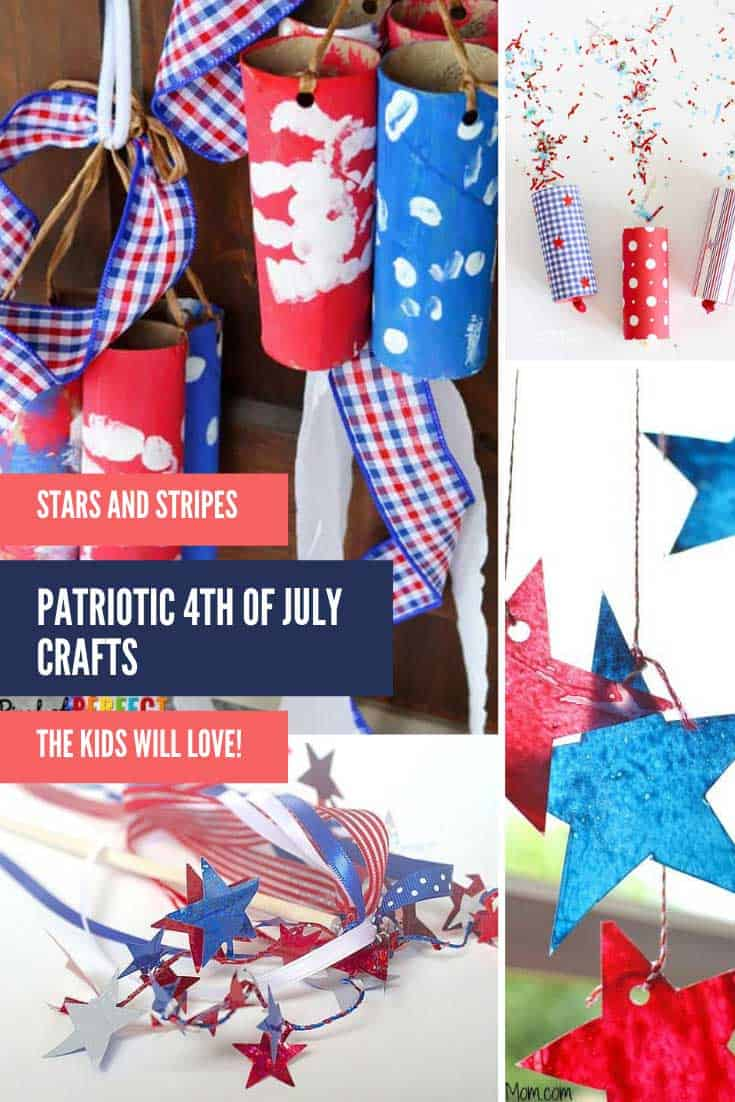These patriotic crafts for kids are a super fun way to put the red, white and blue into your Independence Day celebrations! #patriotic #craftsforkids