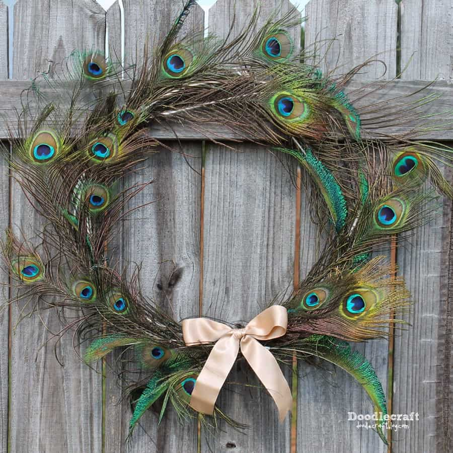 DIY Peacock Feather Wreath