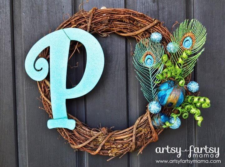 Monogram Peacock Wreath