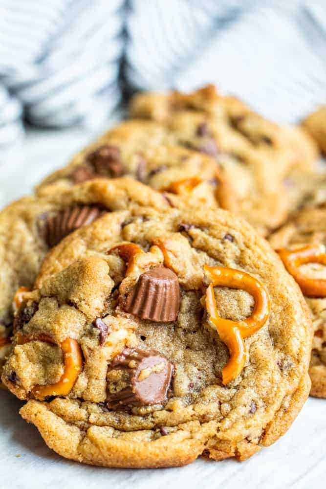 Peanut Butter Cup Cookies with Pretzels