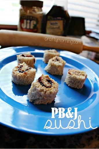 Peanut Butter and Jelly Sushi Snack for Kids - Crafty Morning