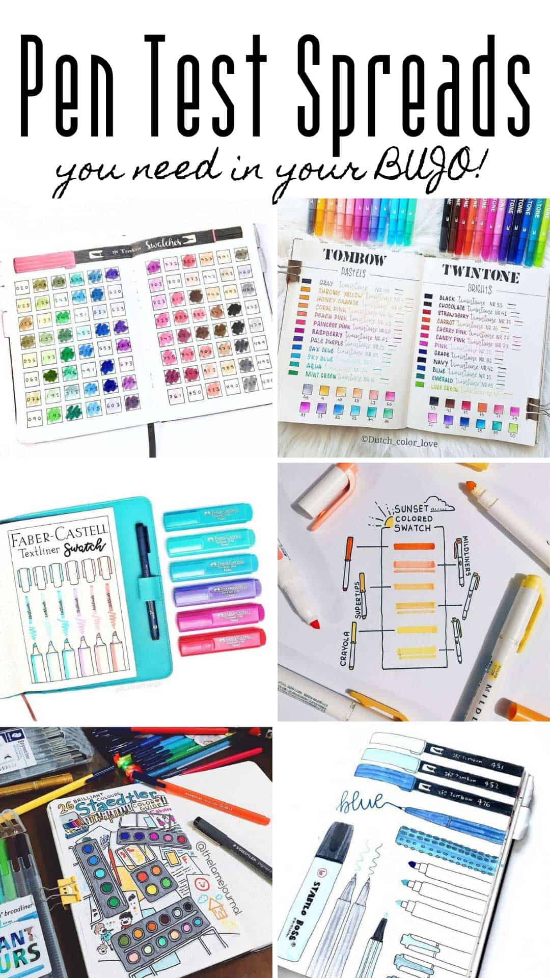 These pen test bullet journal spreads are a must have if you have a whole stash of pens and want to keep track of the colors #bulletjournal