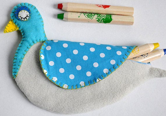 Pencil Pouch Pigeon Pattern