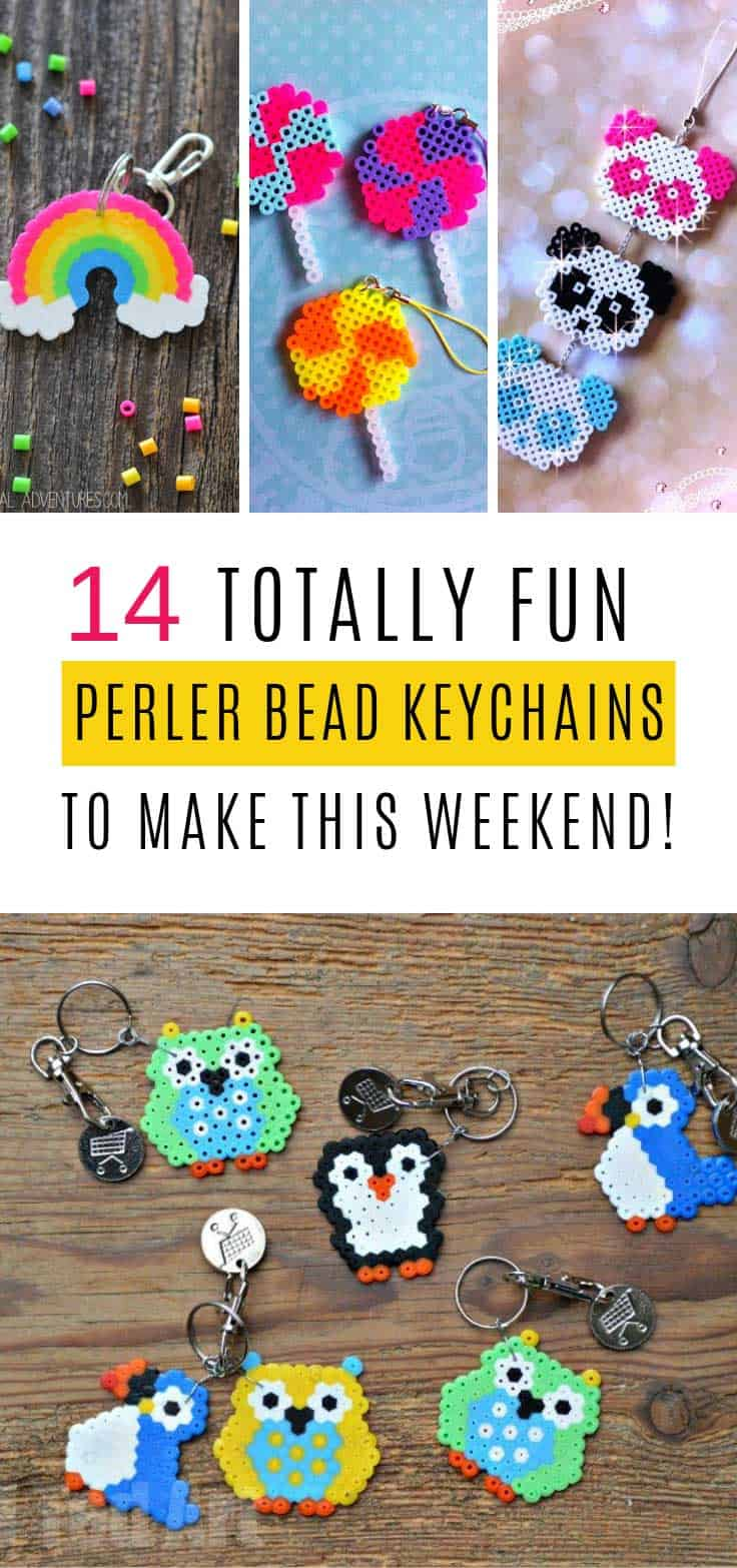 Perler bead crafting is great fun for kids and grownups so why not spend some time together this weekend making some of these perler bead keychains