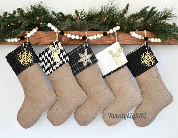 Personalized Farmhouse Christmas Stockings with Embellishments