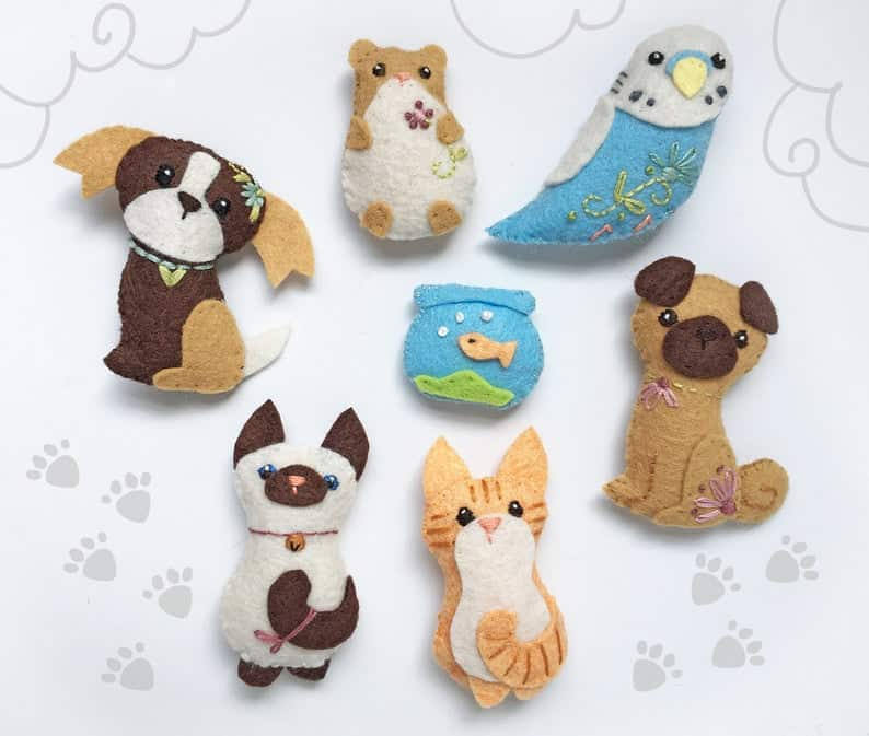 Customizable Pets Felt Animals Plush Sewing Patterns