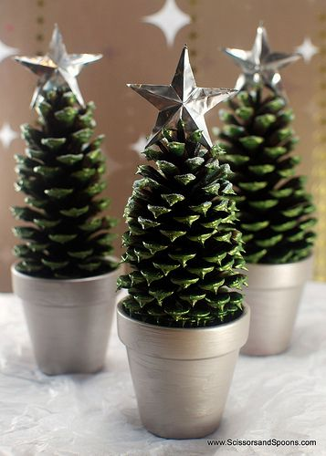Pinecone Christmas Trees Mantel Decor