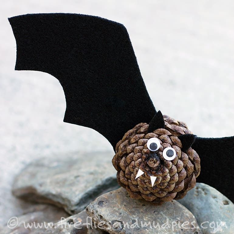 Pinecone Halloween Craft for Kids Bat