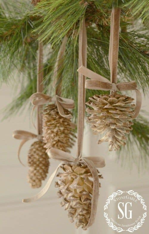 Bleached Pinecone Ornaments